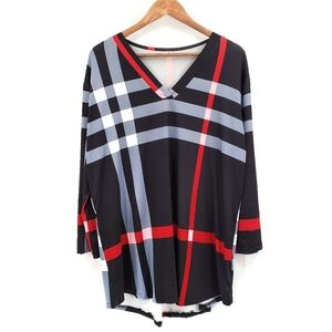 Womens Long Sleeve Striped Swim Coverup Large